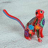 Wood alebrije figurine, 'Curiosity' - Multi-Color Cedar Wood Nutria Alebrije