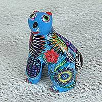 Wood alebrije, 'Beautiful Bear' - Multi-Color Cedar Wood Bear Alebrije