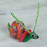Wood alebrije figurine, 'Homebody' - Multi-Color Cedar Wood Snail Alebrije