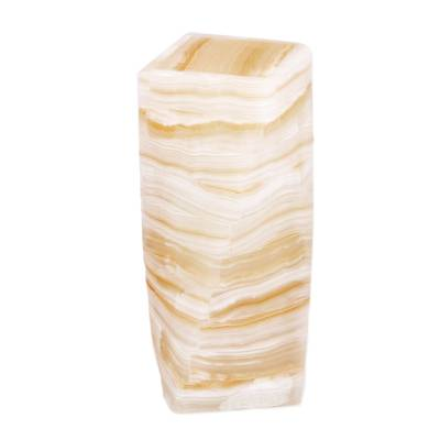 Onyx table lamp, 'Ribbons of Light' - Artisan Crafted Modern Streaked Onyx Table Lamp from Mexico