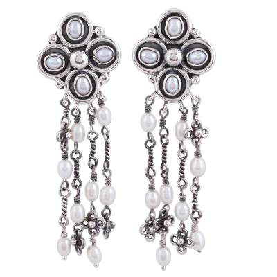 Cultured pearl waterfall earrings, 'Pearl Stream' - Cultured Pearl and Sterling Silver Waterfall Earrings