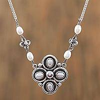 Cultured pearl pendant necklace, 'Silver Symmetry' - Cultured Pearl and Sterling Silver Floral Pendant Necklace