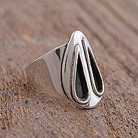 Sterling silver cocktail ring, 'Twilight Rain' - Sterling Silver and Black Teardrop Modern Cocktail Ring