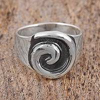 Sterling silver cocktail ring, 'Entrance' - Sterling Silver Swirl Embossed Cocktail Ring
