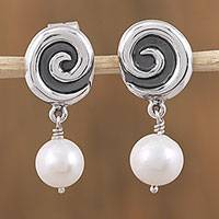 Cultured pearl dangle earrings, 'Elegant Whirl' - Cultured Pearl and Sterling Silver Dangle Earrings