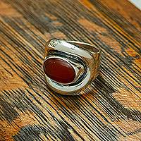 Carnelian wrap cocktail ring, 'Aflame' - Carnelian and Sterling Silver Adjustable Wrap Cocktail Ring