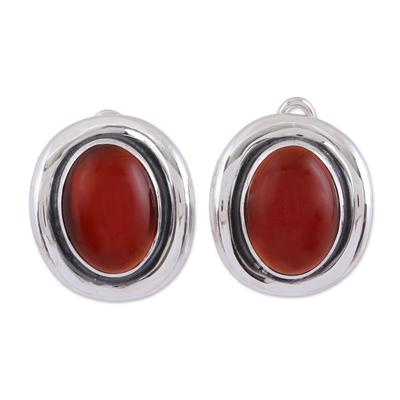 Carnelian button earrings, 'Aflame' - Carnelian and Sterling Silver Button Earrings