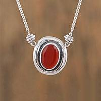 Carnelian pendant necklace, 'Aflame' - Carnelian and Sterling Silver Pendant Necklace