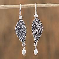Cultured pearl dangle earrings, 'Unfurled' - Cultured Pearl and Sterling Silver Leaf Dangle Earrings