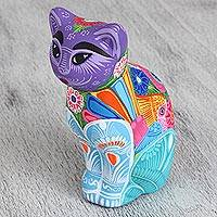 Ceramic figurine, 'Fiesta Cat' - Hand-Painted Ceramic Cat Figurine in Fiesta Colors