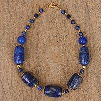 Gold-accented lapis lazuli and agate beaded necklace, 'A Night's Remembrance' - Gold-Accented Lapis Lazuli and Agate Beaded Necklace
