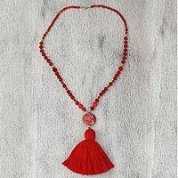 Agate and marble beaded pendant necklace, 'Splendid Stone' - Agate and Marble Beaded Pendant Necklace with Red Tassel