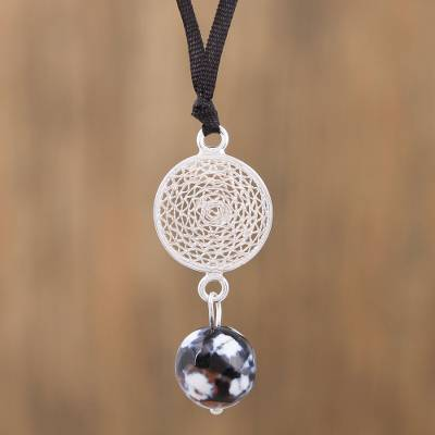 Agate filigree pendant necklace, Solar Circle