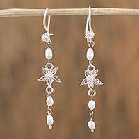 Cultured pearl filigree dangle earrings, 'Floral Stars' - Cultured Pearl Filigree Dangle Earrings from Mexico