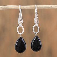 Jade filigree dangle earrings, 'Night Pendants' - Black Jade and Silver Filigree Dangle Earrings from Mexico