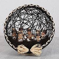 Ceramic and natural fiber nativity scene, 'Traditional Beginning' - Black Ceramic and Natural Fiber Nativity Scene from Mexico