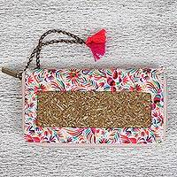 Natural fiber wallet, 'World of Birds' - Floral and Bird-Themed Natural Fiber Wallet from Mexico