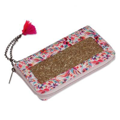 Floral and Bird-Themed Natural Fiber Wallet from Mexico