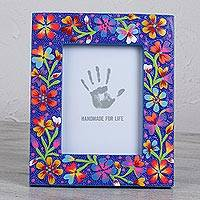 Wood photo frame, 'Nostalgic Life' (7x9) - Floral Wood Photo Frame in Blue (7x9) from Mexico