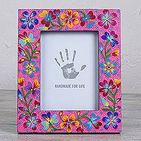 Wood photo frame, 'Blossoming Seeds' (8x9) - Floral Wood Photo Frame in Pink (8x9) from Mexico