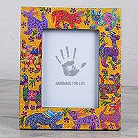 Wood photo frame, 'Young Memories' (7x9) - Animal-Themed Wood Photo Frame in Yellow (7x9) from Mexico