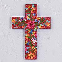 Wood wall cross, 'Christian Guidance' - Hand-Painted Floral Red Pinewood Wall Cross from Mexico