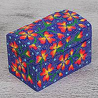 Wood decorative box, 'Light of Night' - Hand-Painted Floral Wood Decorative Box in Blue from Mexico