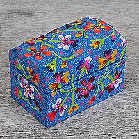 Wood decorative box, 'Sky and Flowers' - Hand-Painted Floral Wood Decorative Box from Mexico