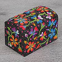 Wood decorative box, 'Flowers of the Night' - Hand-Painted Floral Wood Decorative Box in Black from Mexico