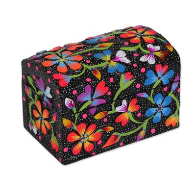 Hand Painted Floral Wood Decorative Box In Black From