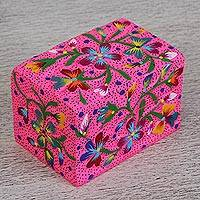 Wood decorative box, 'Natural Love' - Hand-Painted Floral Wood Decorative Box in Pink from Mexico