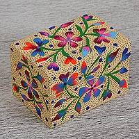 Wood decorative box, 'Protective Flowers' - Hand-Painted Floral Wood Decorative Box in Beige from Mexico