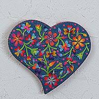 Wood key holder, 'My Floral Love' - Heart-Shaped Hand-Painted Floral Wood Key Holder from Mexico