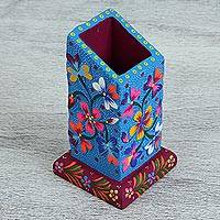 Wood pencil holder, 'Natural Vibrancy' - Hand-Painted Floral Pinewood Pencil Holder from Mexico