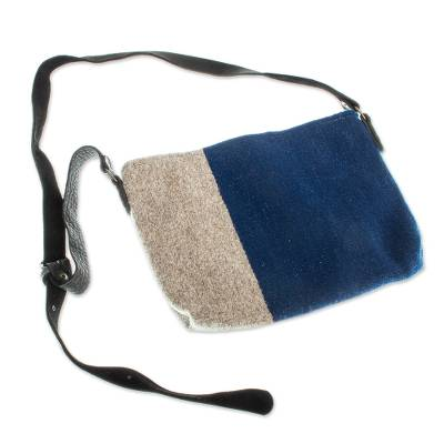 Novica Leather accent wool sling, Royal Blue Sensibility