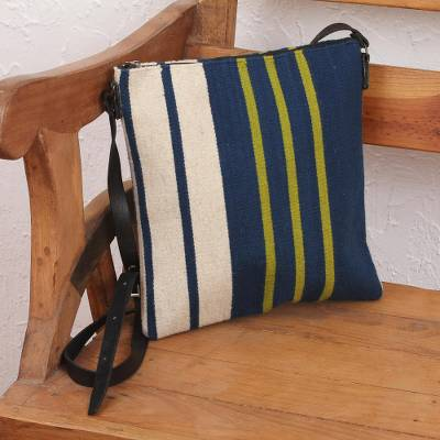Leather accent wool sling, 'Sensible Stripes' - Handwoven Striped Wool Sling Handbag from Mexico