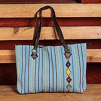 Leather accent wool shoulder bag, 'Light and Life' - Striped Wool Shoulder Bag in Azure from Mexico