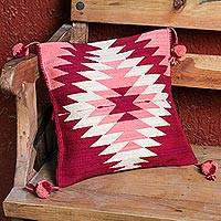 Wool cushion cover, 'Caring Geometry' - Handwoven Geometric Wool Cushion Cover from Mexico