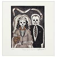 'Til Death Do Us Part' - Signed Surrealist Print of a Skeleton Couple from Mexico