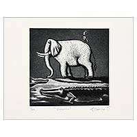 'Little Elephant' - Signed Surrealist Print of an Elephant from Mexico
