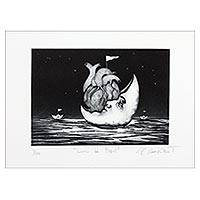 'Paper Moon' - Surrealist Painting Print of a Heart with a Moon from Mexico