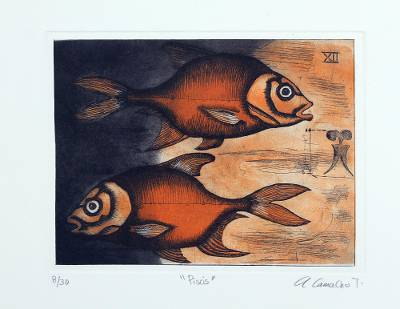 'Pisces' - Signed Pisces-Themed Surrealist Print from Mexico