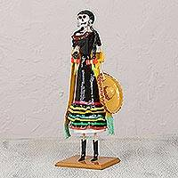 Papier mache statuette, 'Fiesta Night' - Papier Mache Catrina in Jalisco Outfit Statuette from Mexico