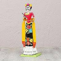 Papier mache statuette, 'Frida and Death' - Papier Mache Frida Kahlo Skeleton Statuette from Mexico