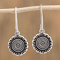 Sterling silver dangle earrings, 'Sun over Mexico' - Handcrafted Sterling Silver Dangle Earrings from Mexico