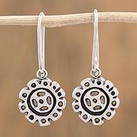 Sterling silver dangle earrings, 'Silver Continuity' - Handcrafted Sterling Silver Dangle Earrings from Mexico