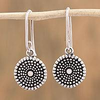 Sterling silver dangle earrings, 'Spiraling Splendor' - Handcrafted Round Sterling Silver Dangle Earrings