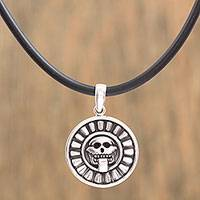 Sterling silver pendant necklace, 'Haunting Celebration' - Handcrafted Sterling Silver Skull Pendant Necklace