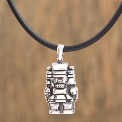 Sterling silver pendant necklace, 'Ancient Mexico' - Handcrafted Sterling Silver Cord Pendant Necklace