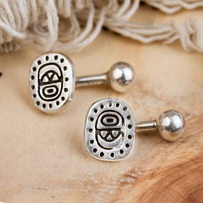 Sterling silver cufflinks, 'Ancient Era' - Handcrafted Sterling Silver Cufflinks from Mexico